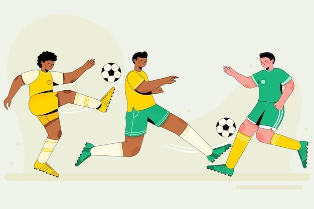 Ensemble de joueur de football plat