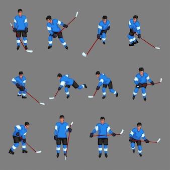 Ensemble de joueur de hockey coloré