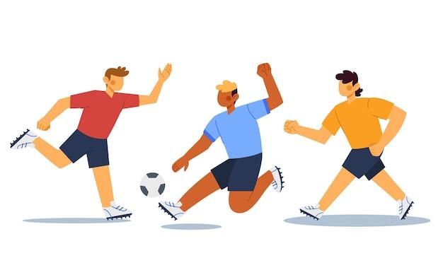 Ensemble de joueurs de football design plat