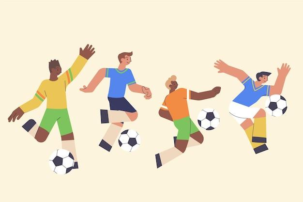 Ensemble de joueurs de football plat