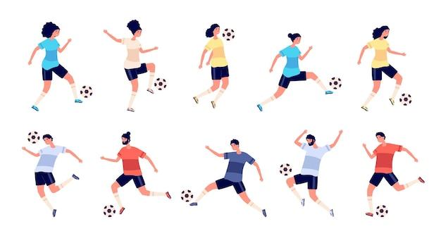 Ensemble De Joueurs De Football Vecteur Premium