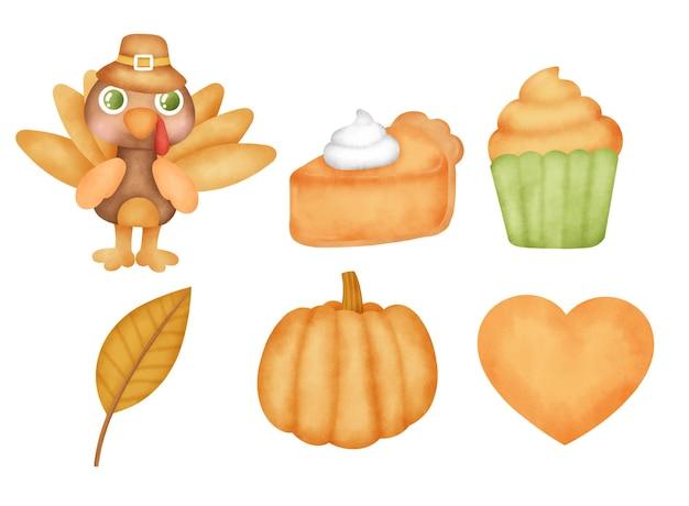 Ensemble de jour de thanksgiving aquarelle dessiné à la main
