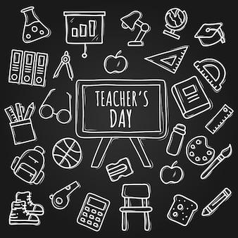 Ensemble de la journée des enseignants dessinés à la main