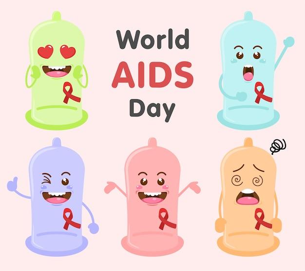 Ensemble de la journée mondiale du sida du préservatif mignon