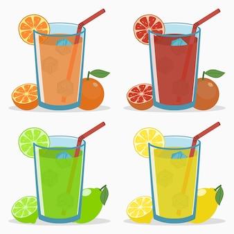 Ensemble de jus d'agrumes orange pamplemousse citron vert boisson fraîche naturelle avec glaçon à la paille