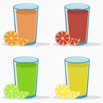 Ensemble de jus d'agrumes orange pamplemousse citron vert boisson fraîche naturelle avec tranche et demi-fruit