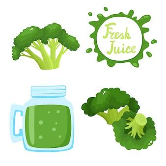 Ensemble de jus de brocoli frais naturel en banque et brocoli isolé sur blanc. boisson végétale biologique saine, smoothie pour une vie saine, régimes et bulles avec lettrage manuscrit.