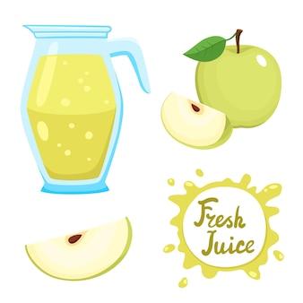 Ensemble de jus de pomme frais naturel en pot et illustration de pommes vertes