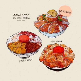 Ensemble kaisen donburi, un bol de riz avec du sashimi sur le dessus. croquis de tirage à la main.