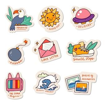 Ensemble de kawaii sticker doodle set fashion patch design collection