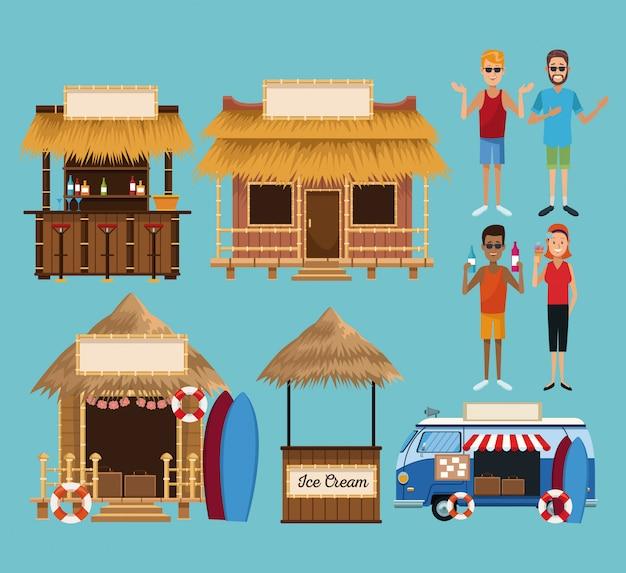 Ensemble de kiosque de plage