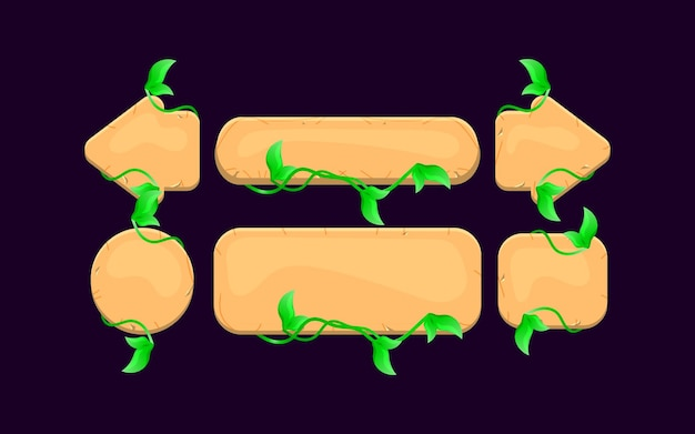 Ensemble de kit de bouton de feuilles en bois d'interface utilisateur de jeu