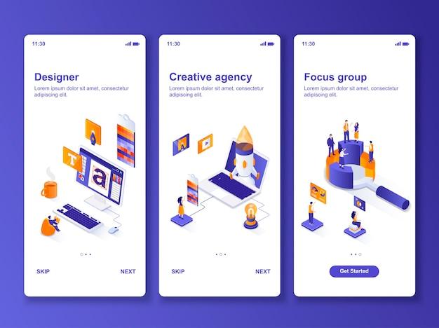 Ensemble de kit de conception isométrique pour agence de création d'applications