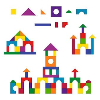 Ensemble de kit de construction de détails de jouets pour enfants en bois multicolores.