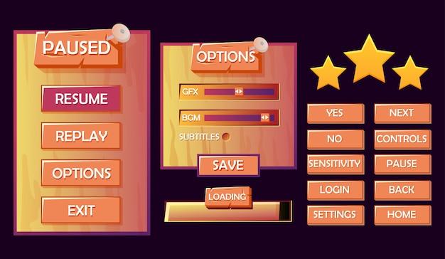 Ensemble de kit d'interface utilisateur de jeu en bois