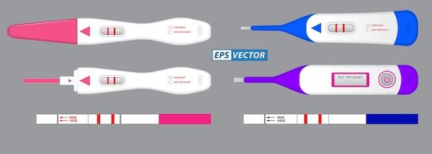 Ensemble de kit de test de grossesse ou test de résultat de grossesse négatif positif vecteur eps