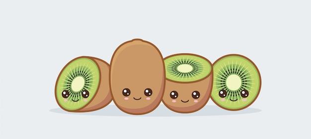 Ensemble de kiwis dessinés mignons visages de nourriture