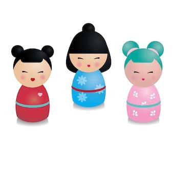 Ensemble de kokeshi kawaii mignon