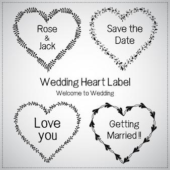 Ensemble de label de mariage coeur floral