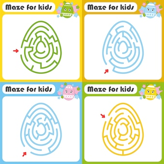 Un ensemble de labyrinthes. jeu pour les enfants. puzzle pour enfants. énigme du labyrinthe. style de bande dessinée.