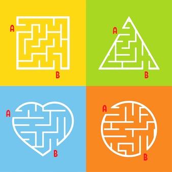 Un ensemble de labyrinthes. jeu pour les enfants. puzzle pour enfants. énigme du labyrinthe.