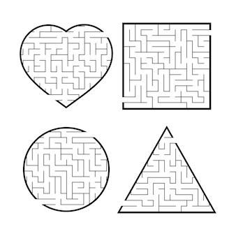 Un ensemble de labyrinthes. jeu pour les enfants. puzzle pour enfants.