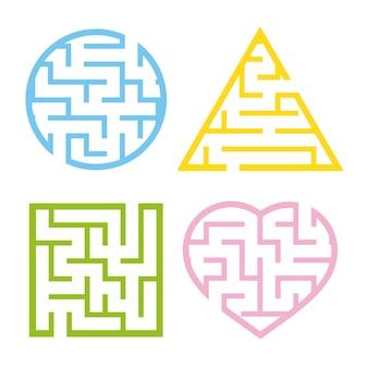 Un ensemble de labyrinthes lumineux colorés