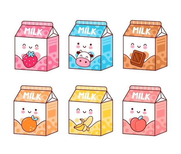 Ensemble de lait aromatisé drôle heureux mignon