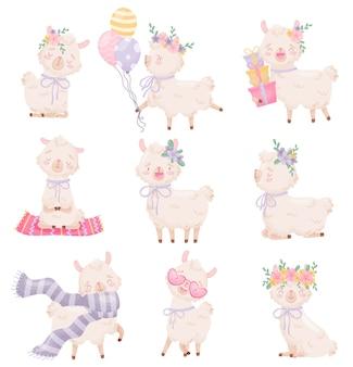 Ensemble de lamas de dessin animé avec différents éléments
