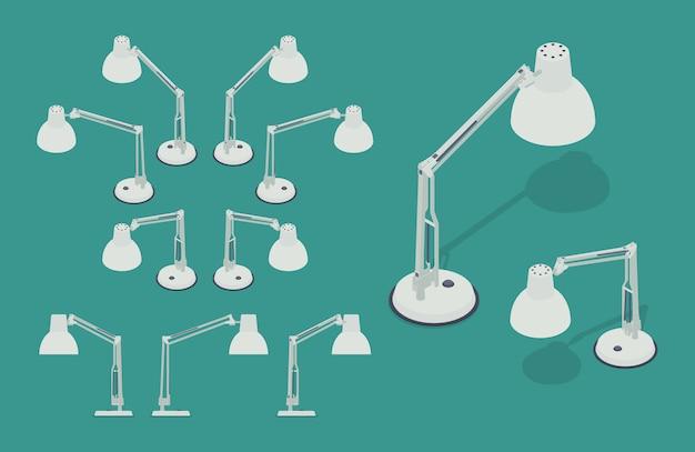 Ensemble des lampes de bureau isométriques