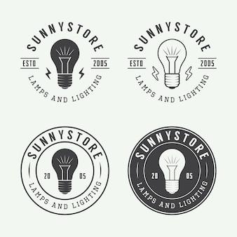 Ensemble de lampes vintage et logo d'éclairage, emblèmes, badge et éléments de conception. illustration vectorielle