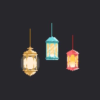 Ensemble de lanterne pixel. ramadan