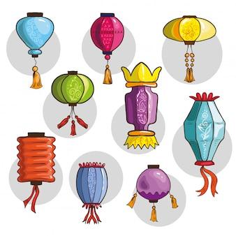 Ensemble de lanternes chinoises