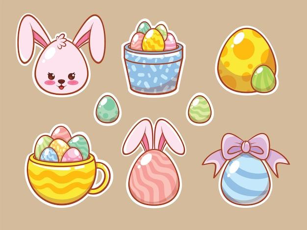 Ensemble d & # 39; un lapin mignon avec des autocollants de dessin animé d & # 39; oeufs de pâques