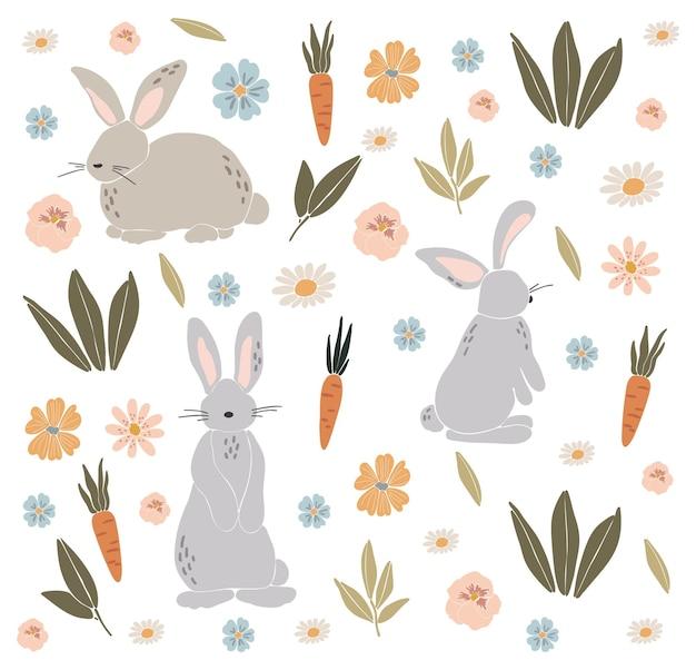 Ensemble de lapin de pâques abstrait boho