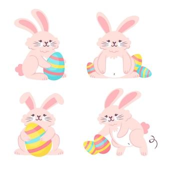 Ensemble de lapin de pâques dessiné à la main