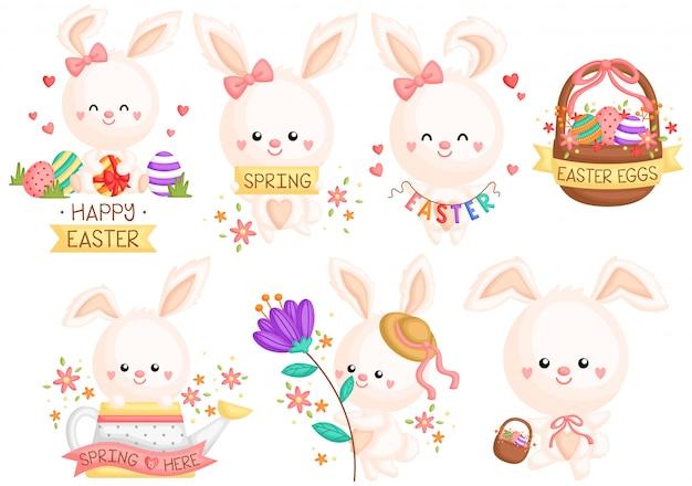 Ensemble de lapin de pâques girly