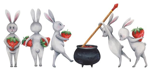 Ensemble de lapins de dessin animé, cuisson de la confiture de fraises.
