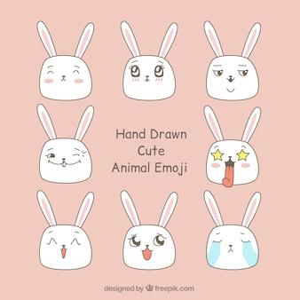 Ensemble de lapins dessinés à la main