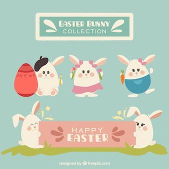 Ensemble de lapins de pâques mignon