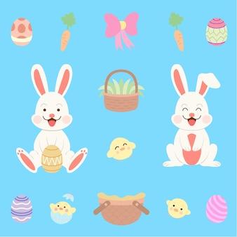 Ensemble de lapins de pâques