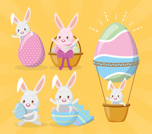 Ensemble de lapins souhaitant une joyeuse pâques