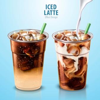 Ensemble de latte glacé avec du lait qui coule dedans