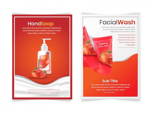 Ensemble de lavage du visage et du corps avec arôme de fraise