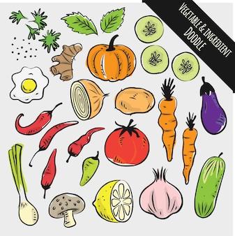 Ensemble de légume et ingrédient doodle