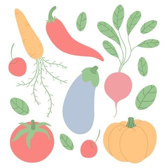 Ensemble de légumes et de baies.