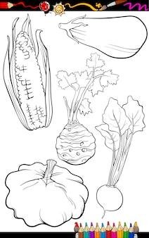 Ensemble de légumes de dessin animé pour livre de coloriage