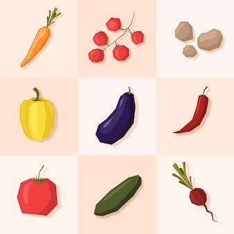 Ensemble de légumes dessinés à la main dans un style plat, carotte, radis, aubergine et autres