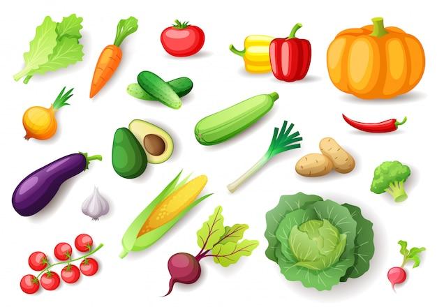 Ensemble de légumes frais colorés, aliments sains biologiques