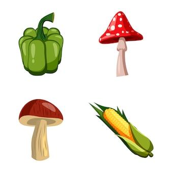 Ensemble de légumes jeu de dessin animé de légumes
